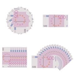 Euro banknotes icon set vector image