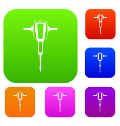 pneumatic plugger hammer set collection vector image vector image