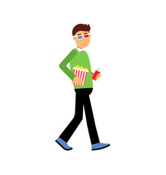 young man in 3d glasses with popcorn going to the vector image