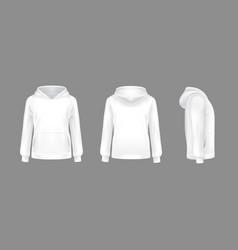 3d realistic hoodie sweatshirt white mockup vector image