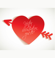 arrow and heart cut from paper vector image vector image
