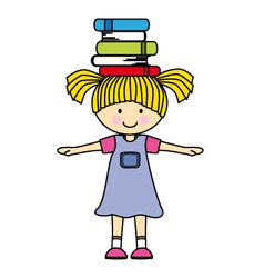 girl playing with books vector image vector image