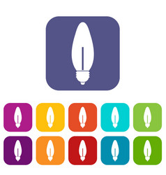 Lamp oval shape icons set vector