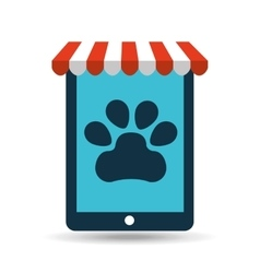 online pet shop and paw vector image vector image