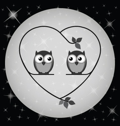OWL HEART MOON vector image