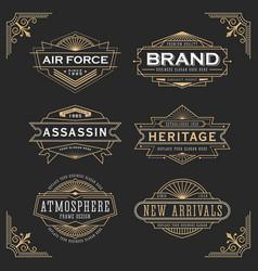 vintage line frame design for label and banner vector image vector image