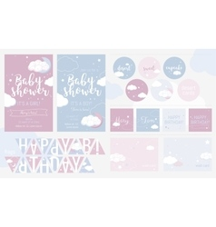 Cute invitation cards for baby shower and birthday vector image
