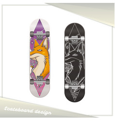 Design skateboard fox vector