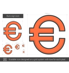 Euro sign line icon vector