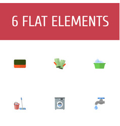 flat icons mopping wisp faucet and other vector image