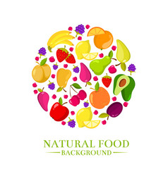 fresh organic cartoon fruits icons design vector image vector image