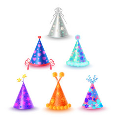 set of different festive caps in cartoon style vector image