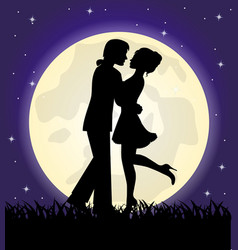 silhouettes of a loving couple standing in front o vector image vector image
