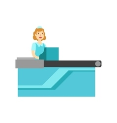 Woman Cashier At The Counter Shopping Mall And vector image vector image