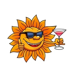 Cartoon sun in sunglasses drinking cocktail vector