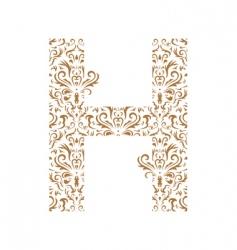 floral letter h ornament font vector image vector image