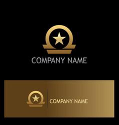 star shape emblem gold logo vector image