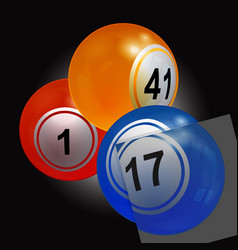 trio of bingo lottery balls with single panel vector image vector image