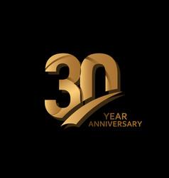 30 years gold elegant anniversary celebration vector