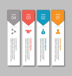 4 steps of infographic with yellow blue red and vector