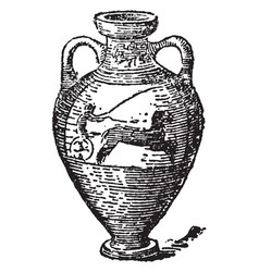 Amphora jar for carrying wine vintage engraving vector