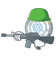 army qtum coin character cartoon vector image
