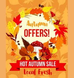 autumn sale special offer poster template design vector image