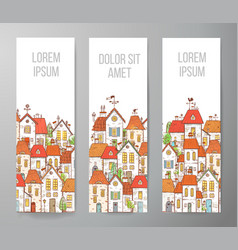 banners with cartoon doodle houses on white vector image