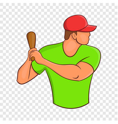 baseball player with bat icon cartoon style vector image