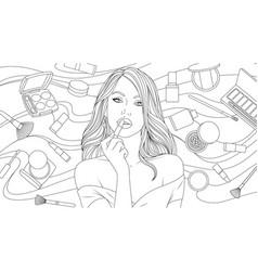 beautiful girl paints her vector image