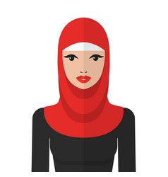 beautiful muslim woman in hijab flat icon vector image