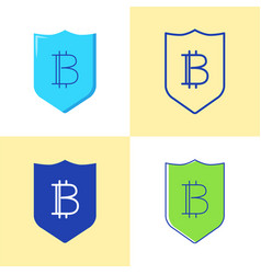 bitcoin security icon set in flat and line style vector image