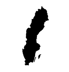 Black silhouette country borders map of sweden on vector