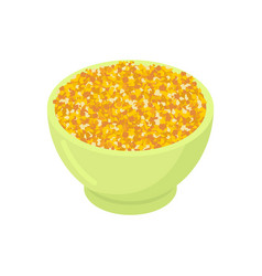 bowl of corn gruel isolated healthy food for vector image