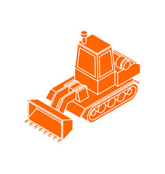 Bulldozer icon isolated agrimotor symbol tractor vector