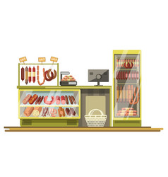 butchery sausages shop counter of supermarket vector image