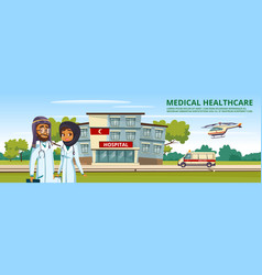 Cartoon muslim arab med service template vector