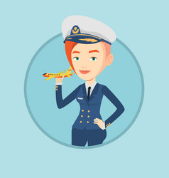 Cheerful airline pilot with model airplane vector