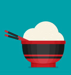 chinese cuisine food rice with bowl and chopsticks vector image