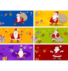 christmas greeting cards set vector image vector image