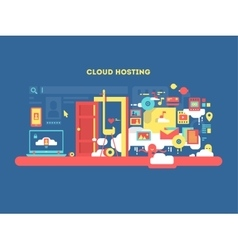 Cloud hosting design vector