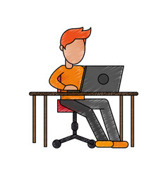 color pencil image cartoon faceless man sitting in vector image