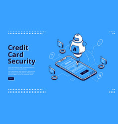 credit card security isometric landing page robot vector image