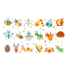 cute cartoon bugs set funny insects colorful vector image