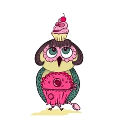 Cute cartoon colored owl with cake on the head vector