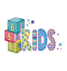 Cute kids word with blocks of numbers vector