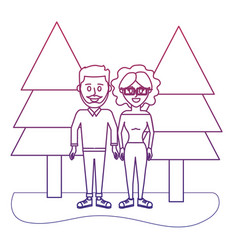 degraded outline cute couple together with casual vector image