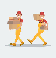 Delivery service two workers carry parcels the vector