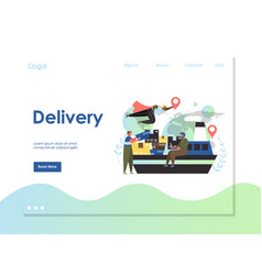 delivery website landing page design vector image