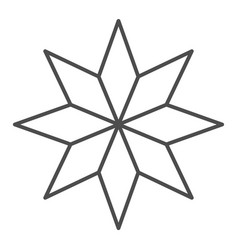 Eight-pointed star thin line icon christmas tree vector